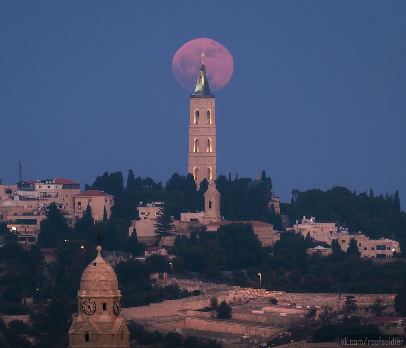 Jerusalem, moon, full moon, city, cityscape, palestine, israel, architecture, church Полнолуние над Иерусалимомphoto preview