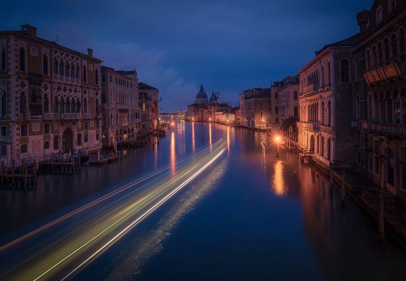 venice, venezia, italy, italia, veneto, longexposure, италия, венеция, мост, bridge Boat Trails. Blue hour in Venicephoto preview