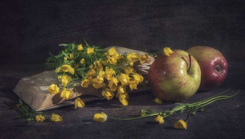цветы,яблоки,букетик,книга,текстура Стихи...photo preview