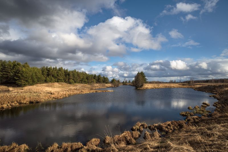 весна,река,разлив,небо,облака,отражение весенним днёмphoto preview