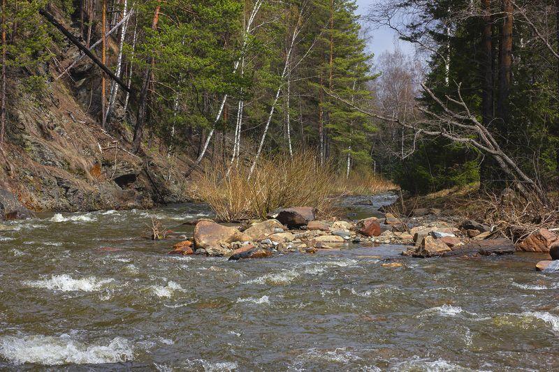весна, горная река, пейзаж, республика башкортостан, южный урал, река нура, скалы, камни, лес Веснаphoto preview