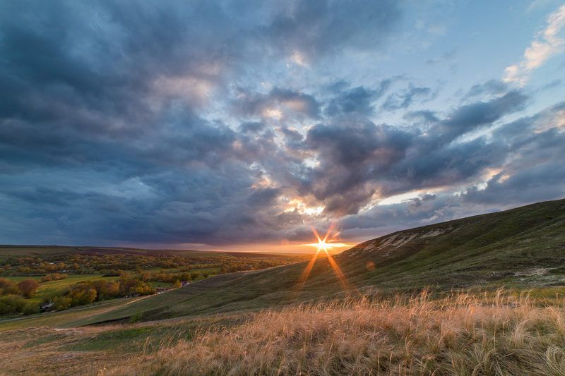 пейзаж, закат, весна, май, степь, облака майский закатphoto preview