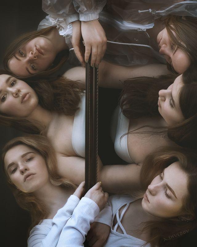 three girls, зеркало, портрет, mirror, меланхолия three girlsphoto preview