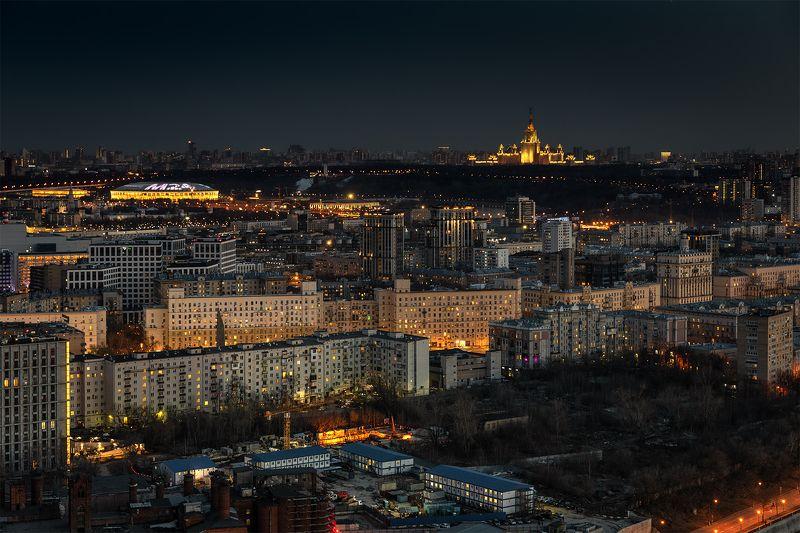 мгу, воробьевы, горы, ночь, пейзаж, город, мегаполис,  От Кутузовского до Воробьевыхphoto preview