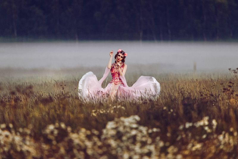 woman, portrait, fashion, beauty, outdoors, art Dancing in the Fogphoto preview