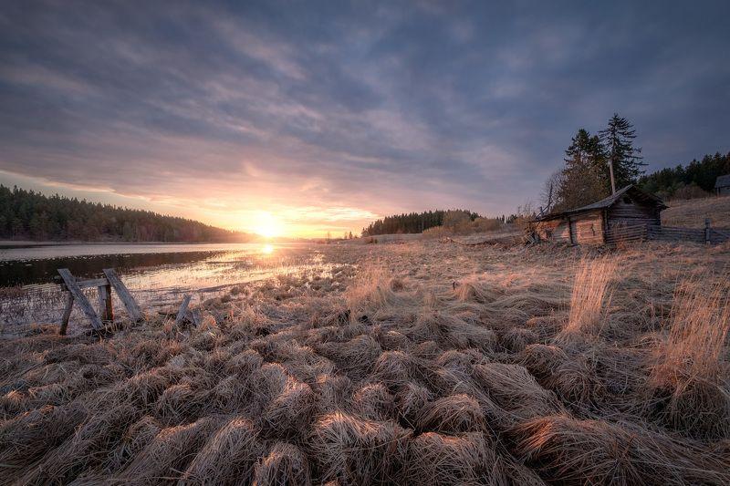 карелия, ладога, озеро, деревня, баня, забор, заброшенное, лес, облака, пейзаж, природа Высокая водаphoto preview
