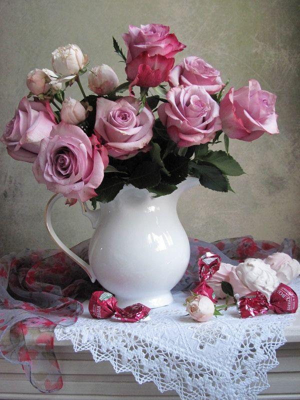 цветы, букет, розы, конфеты, зефир, шарф Розовые розыphoto preview