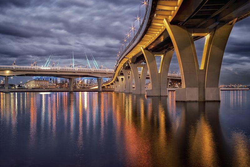 город,вечер,мост,огни,отражения,набережная,река Мосты Петербургаphoto preview
