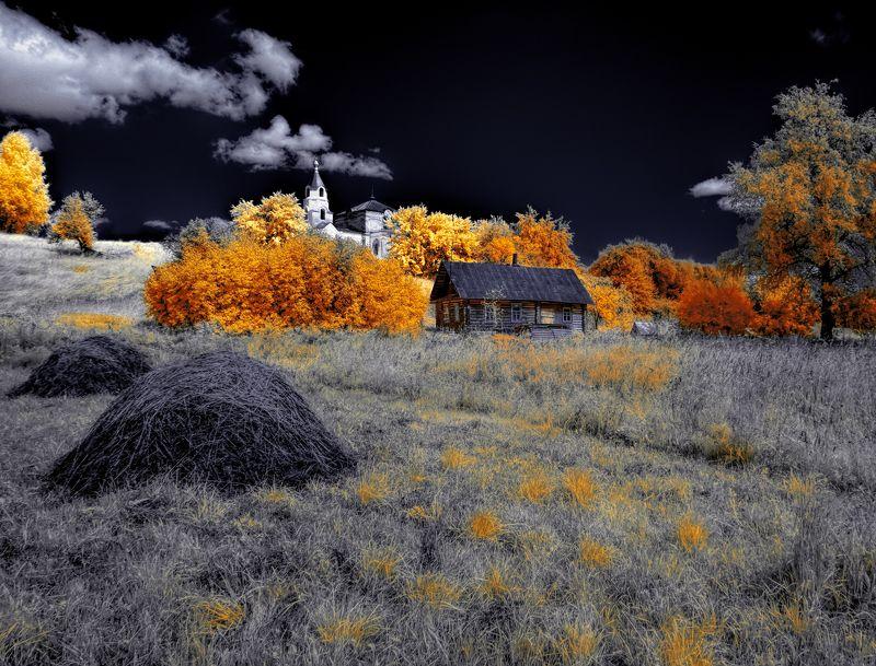 infrared,ик-фото,инфракрасное фото, инфракрасная фотография, пейзаж, лето Никто здесь больше не живет.photo preview