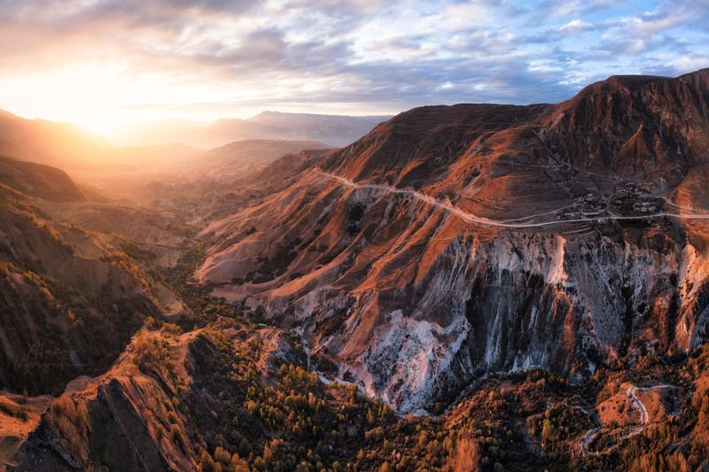 dagestan, matlas, drone, mavic2pro, mountains, outdoor, topview, sunset, дагестан, матлас Страна прекрасных горphoto preview