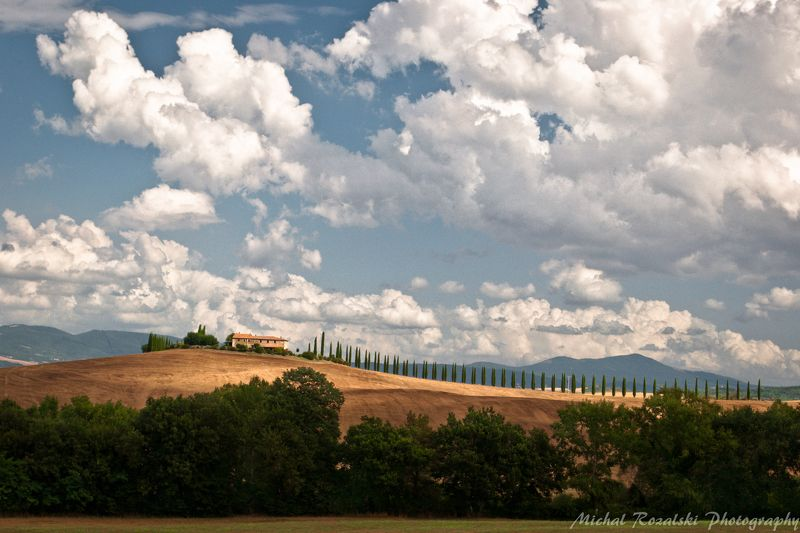 italy, ,tuscany, ,clouds, ,sky, ,cypresses, ,trees, , Clouds over Poggio Coviliphoto preview