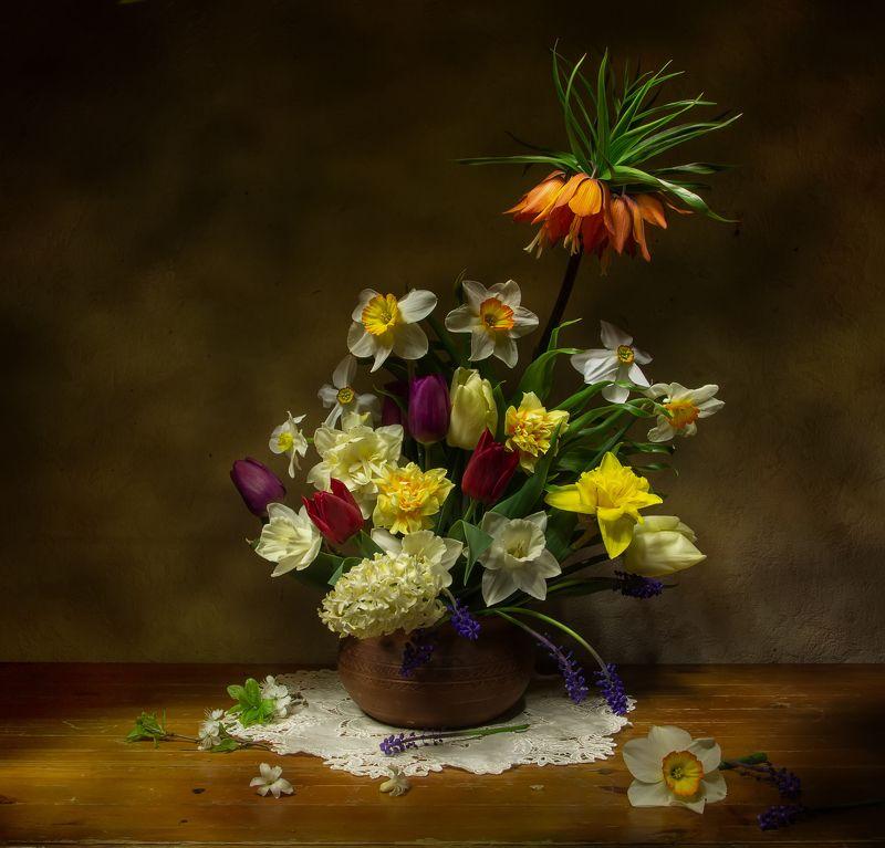 натюрморт. рябчик, тюльпан, нарцисс, гиацинт Весенний коктейль:) фото превью