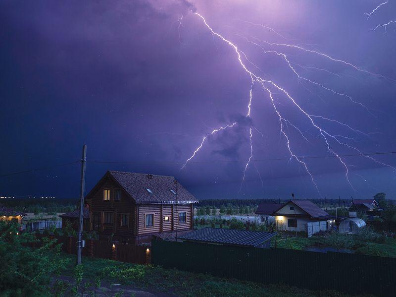 гроза, ночь, молния, пейзаж Ночная гроза в маеphoto preview