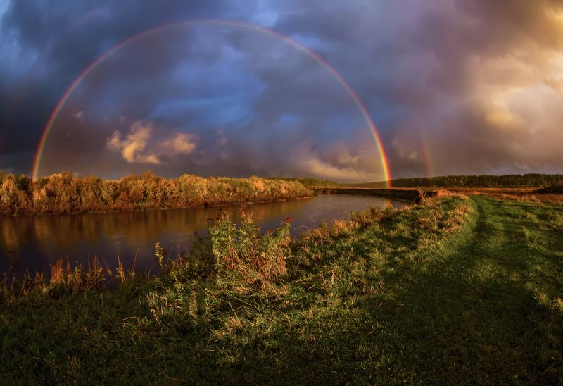 радуга, осень, дождь, небо, тучи, река, вечер Мостикphoto preview