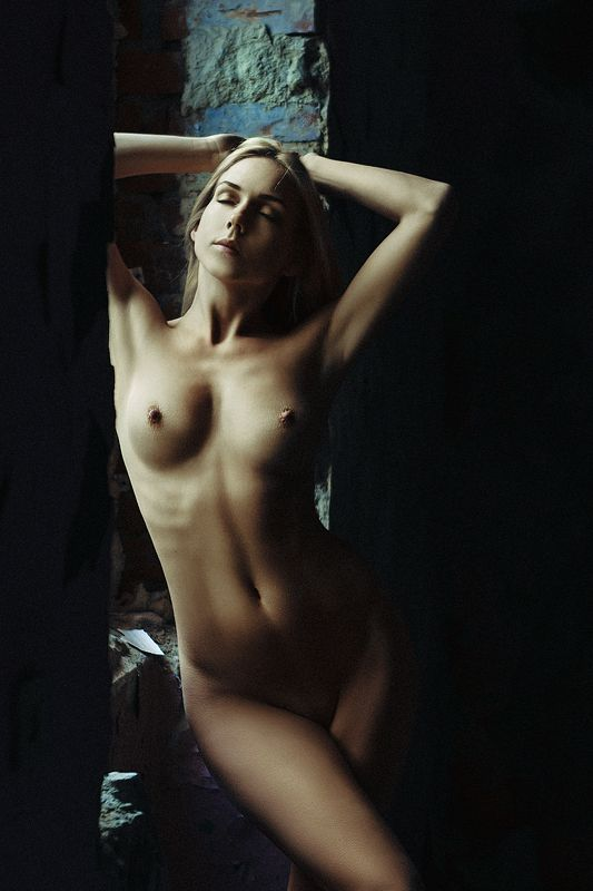 woman, portrait, nude, indoors, natural light Wrapped by the Lightphoto preview