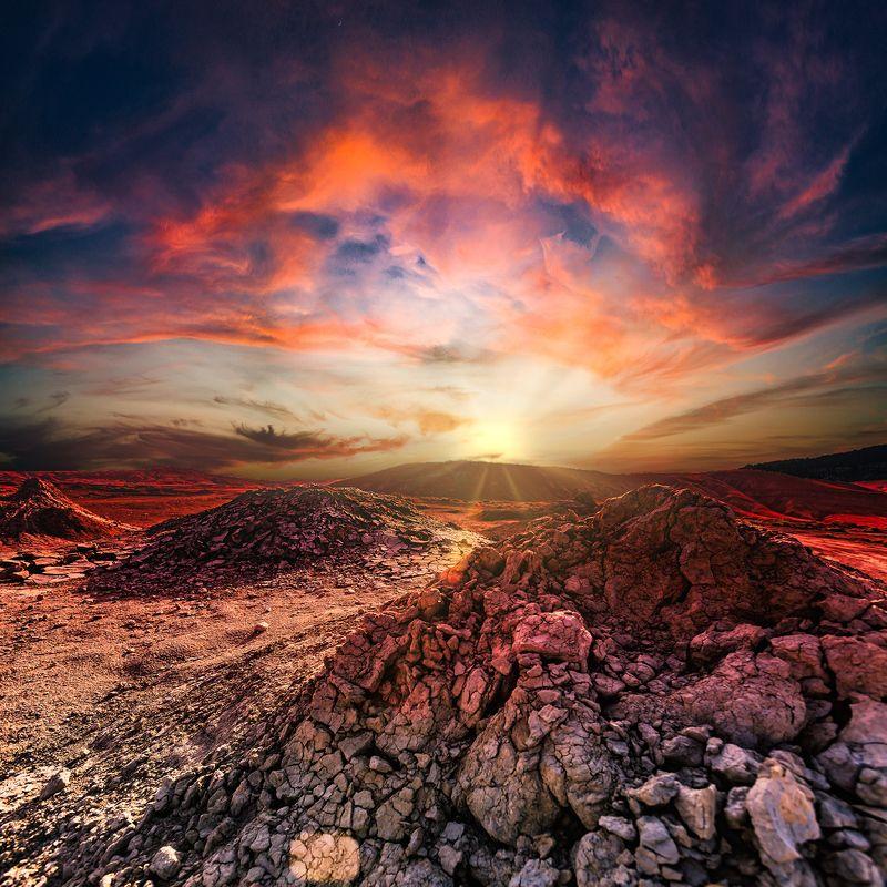 Закат на грязевых вулканах.photo preview