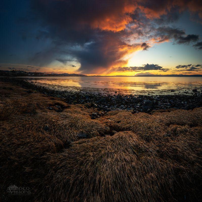 sea,seascape,sunset,norway,sky,clouds,shoreline,coast, Sunset Light over the fiordphoto preview
