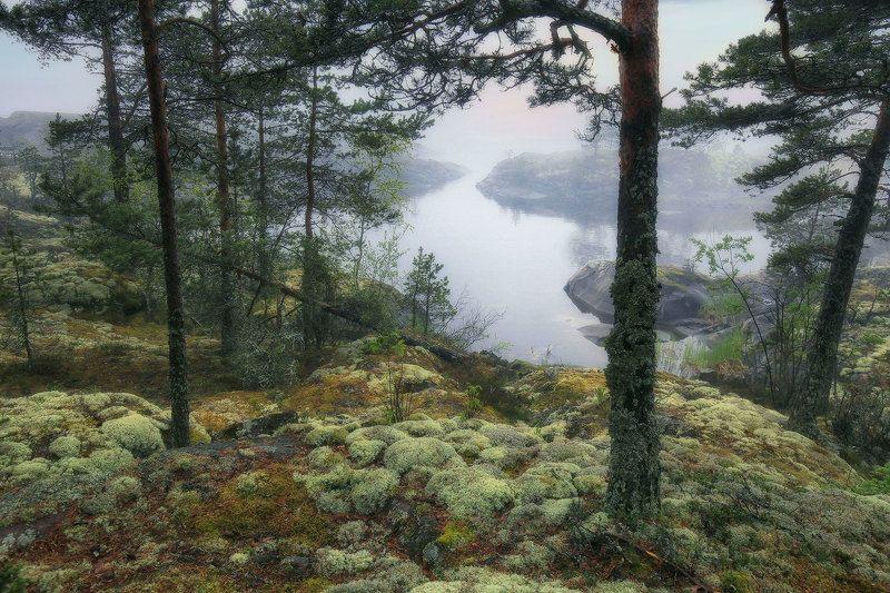 ладожские шхеры, ладога, карелия Даль подёрнулась туманомphoto preview