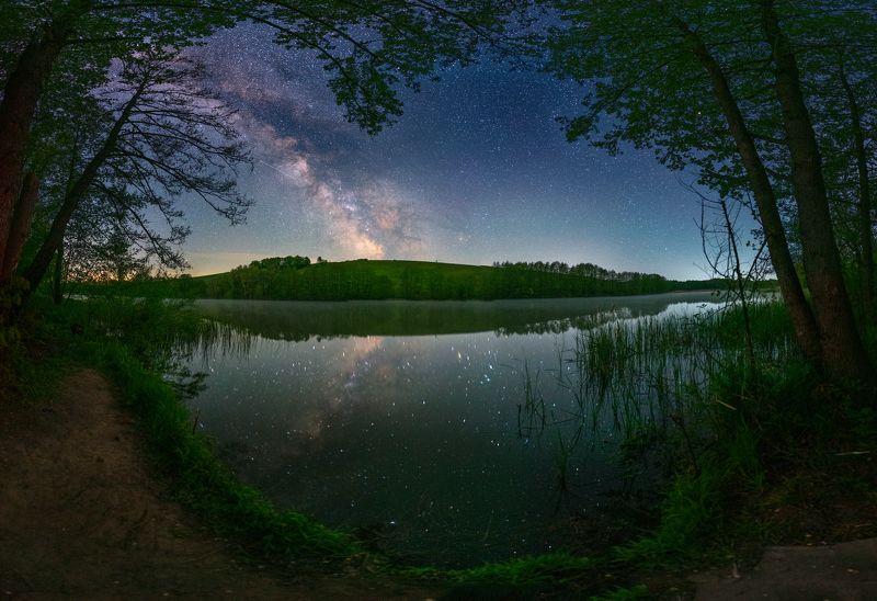 milkyway, starry, night, may, pond, stars, spring, kholodnyyar, Warm starry nightphoto preview