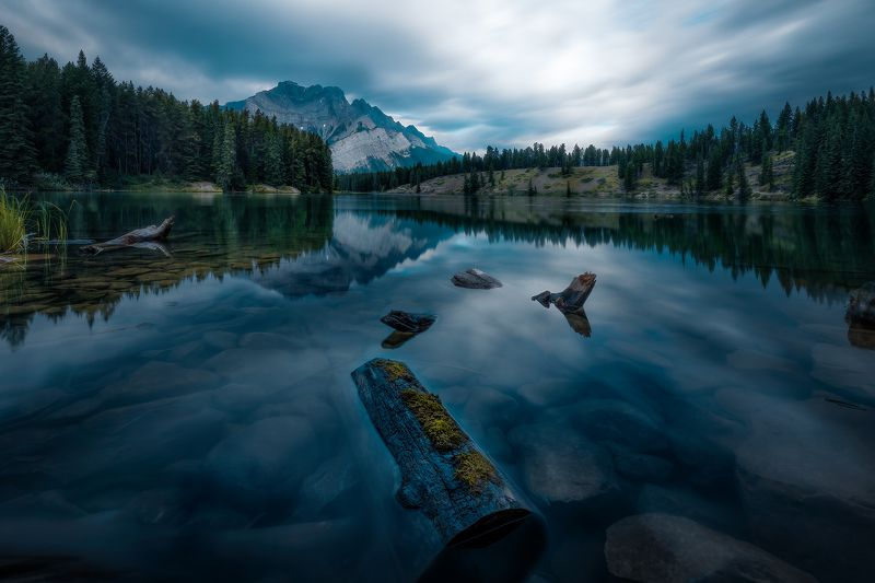landscape, forest, tree, water, outdoor, nature, canada, wood, mountain, snow, summer, mirror, reflection, stone, rock Blue mountainphoto preview