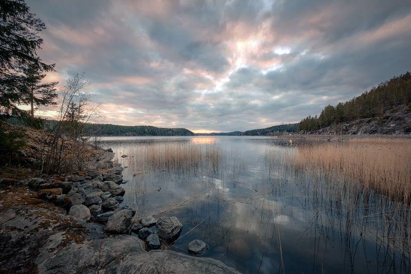 карелия, ладога, залив, закат, скалы, камни, деревья, облака, холод, пейзаж, природа Север Ладогиphoto preview