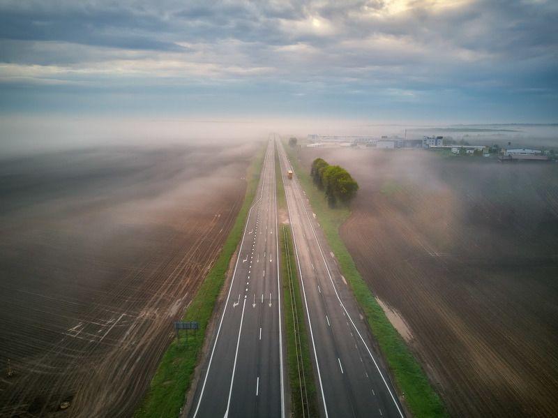 беларусь, весна, дождь, дорога, май, рассвет, туман, утро Уходя в туманphoto preview