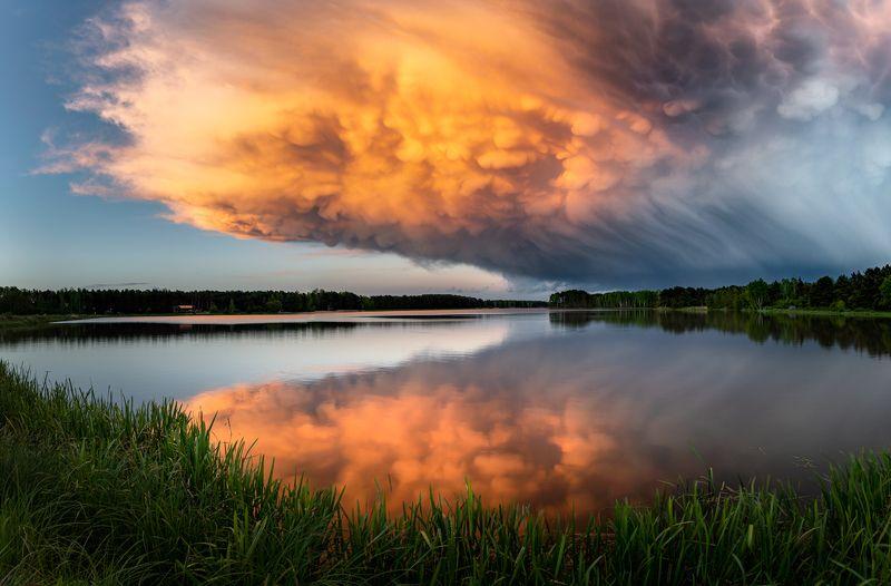 nature, landscape, colors, sunset, lake, cloud Armagedon - mammatus cloudphoto preview
