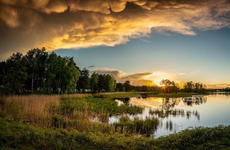 nature, landscape, colors, sunset, lake, cloud photo preview