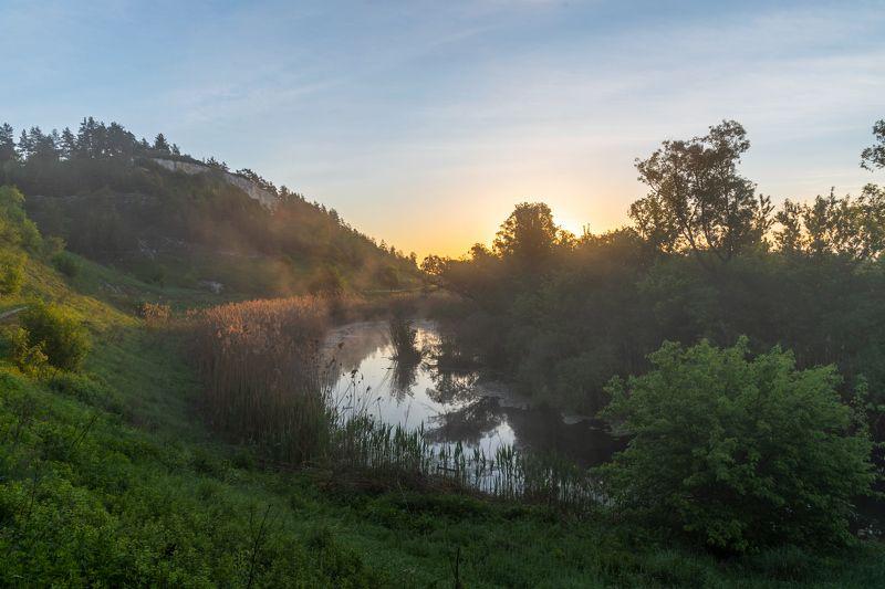 дмитриевское городище, рассвет, село доброе, река, река короча На рассвете.photo preview