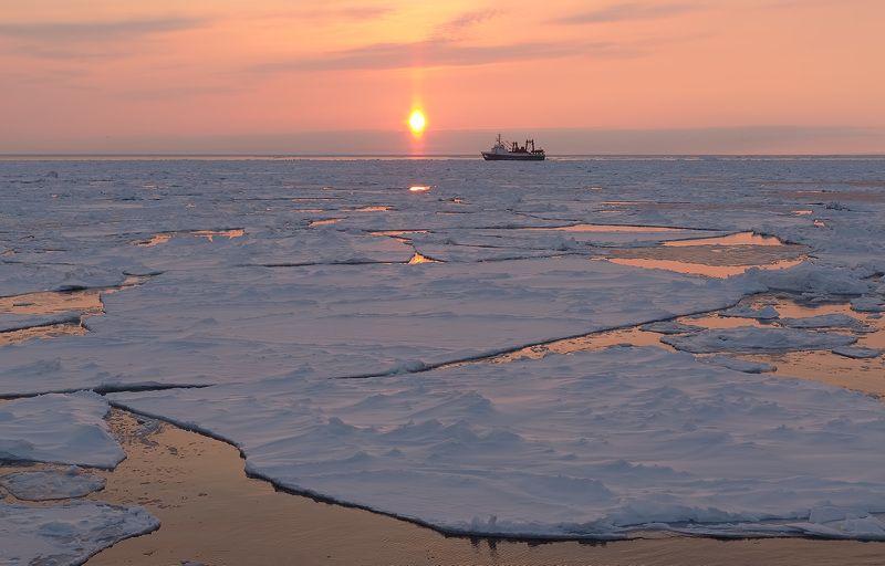вечер, закат, охотское море, судно, льды, весна весна в Охотском мореphoto preview