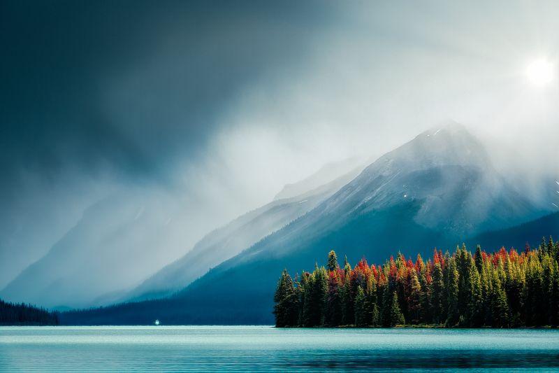 cloud, landscape, outdoor, nature, water, lake, canada, tree, autumn, sun, mist Sailingphoto preview