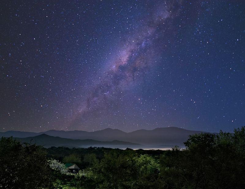 весна, горы, звезды, небо, ночь, приморье Галактика над Макарихойphoto preview