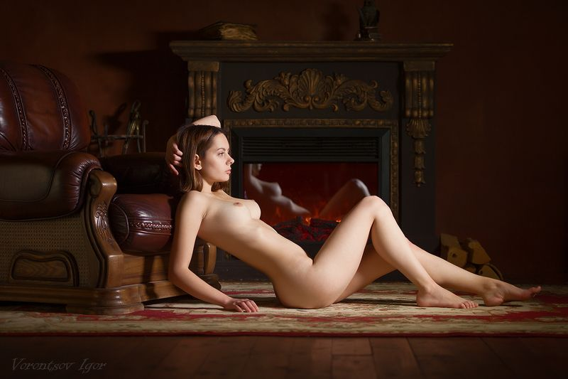ню, девушка, грудь, обнажённая, красивая, голая, камин photo preview
