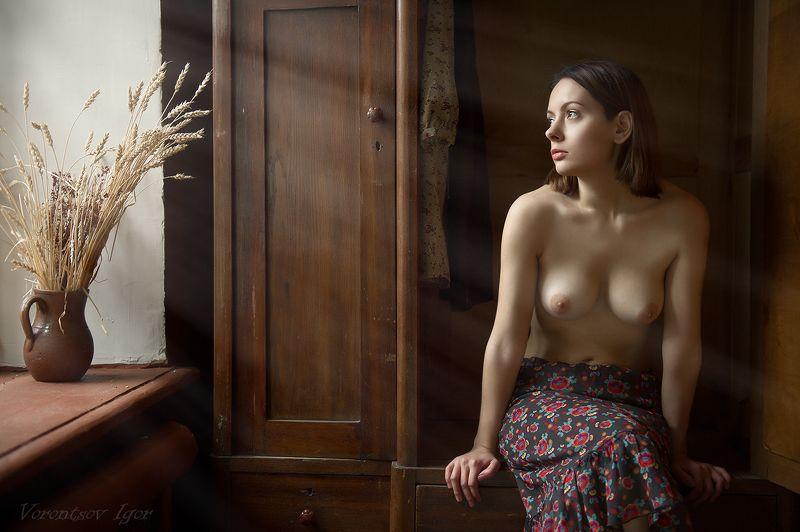 ню, девушка, грудь, обнажённая, красивая, голая, окно, шкаф, винтаж photo preview