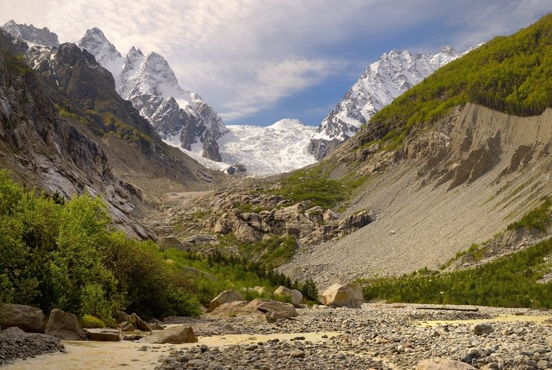 горы весна скалы ледник Караугомский ледникphoto preview