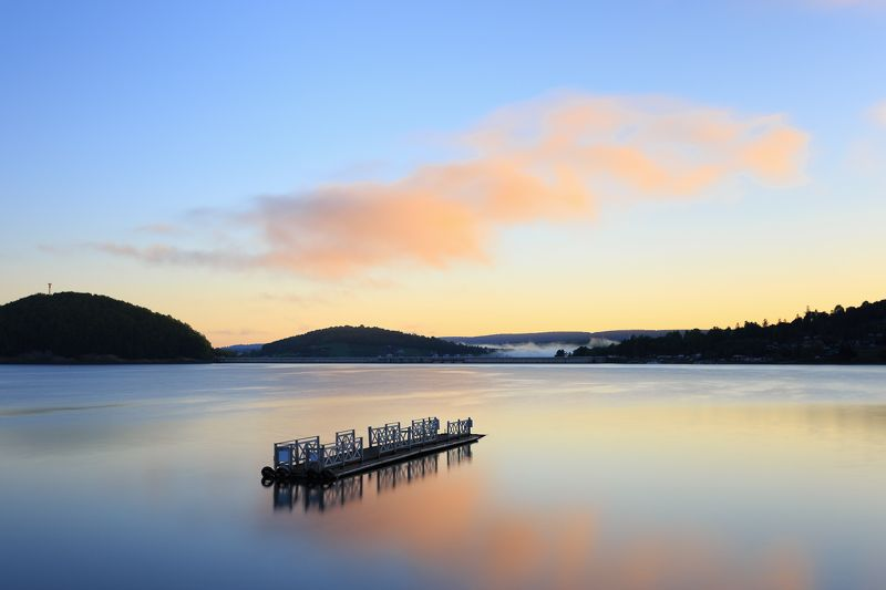 bieszczady, mountains, lake, solina, boats, sunset, spring Morning at the Solina lakephoto preview