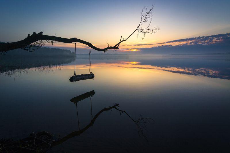 туман, московская область, утро, природа, пейзаж, весна, рассвет, солнце Место для медитацииphoto preview