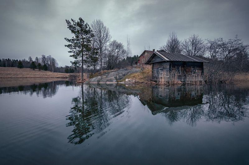 карелия, озеро, дом, баня, отшельник, деревня, скала, сосна, лес, облака, пейзаж, природа Убежище отшельникаphoto preview