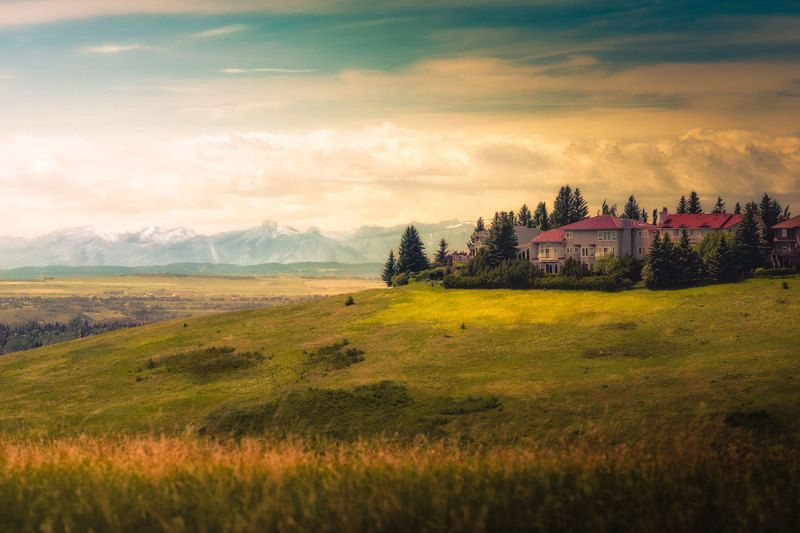 fairy, tale, world, landscape, grass, meadow, house, castle, snow, mountain, tree, autumn, sky, colourful, outdoor, emotion Fairy tale worldphoto preview