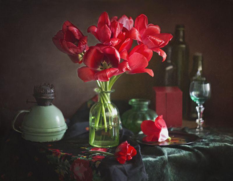 букет цветов, натюрморт, тюльпаны, весна Красные тюльпаны фото превью