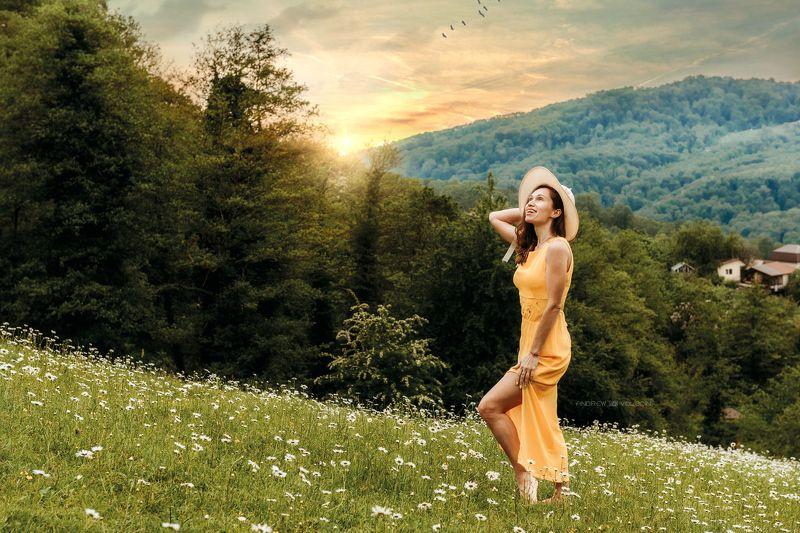девушка портрет ромашки закат солнце облака Гармонияphoto preview