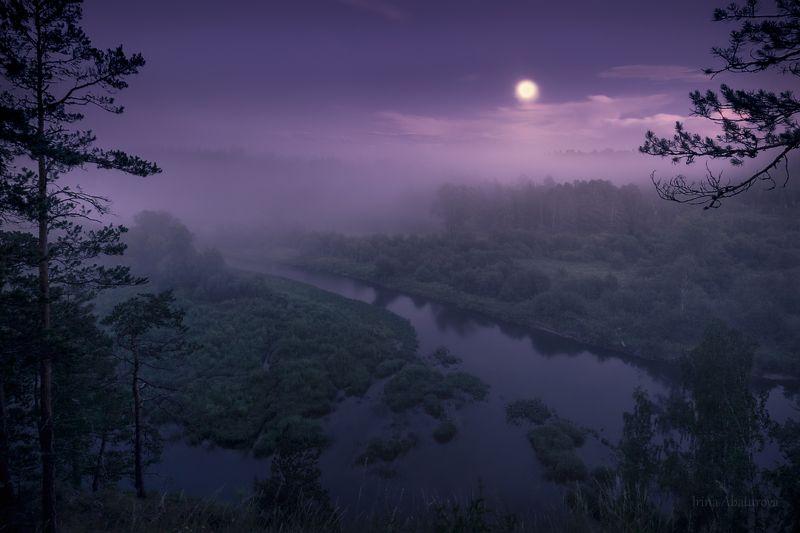 урал, оленьи ручьи, ночь, туман, луна Восход луны над рекой Сергаphoto preview