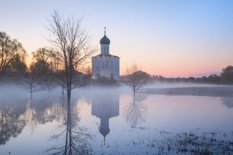 туман, храм, утро, боголюбово Весеннее утроphoto preview