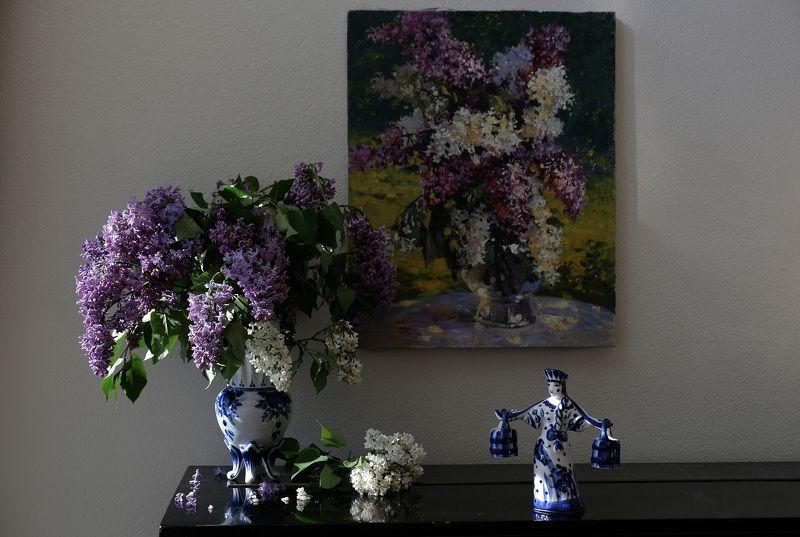 Still life, lilac, flowers, flora, summer, nature, Gzhel, porcelain, ceramics, Сирень, Гжель, По воду пошла...photo preview