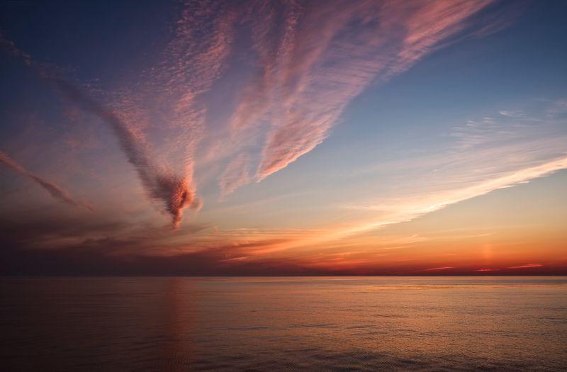 вечер, небо, охотское море, штиль, летний закат sunset cloudsphoto preview