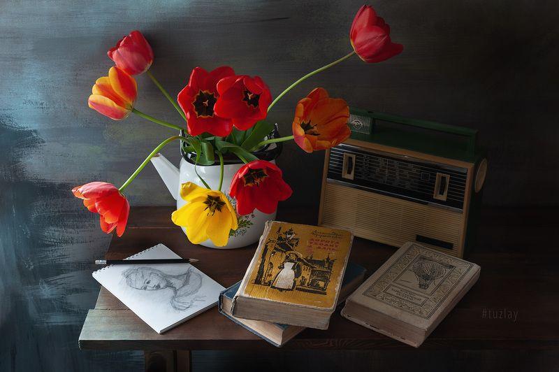 тюльпаны, книги, спидола Пара кадров про тюльпаны с книгамиphoto preview