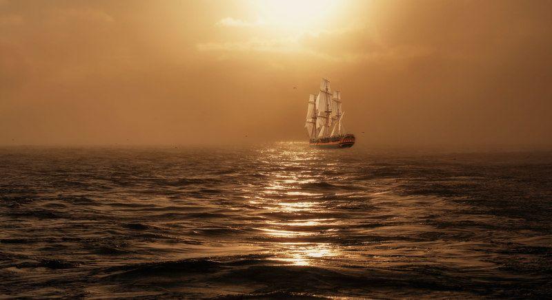 вечер, закат, парусник, волны, мираж миражphoto preview