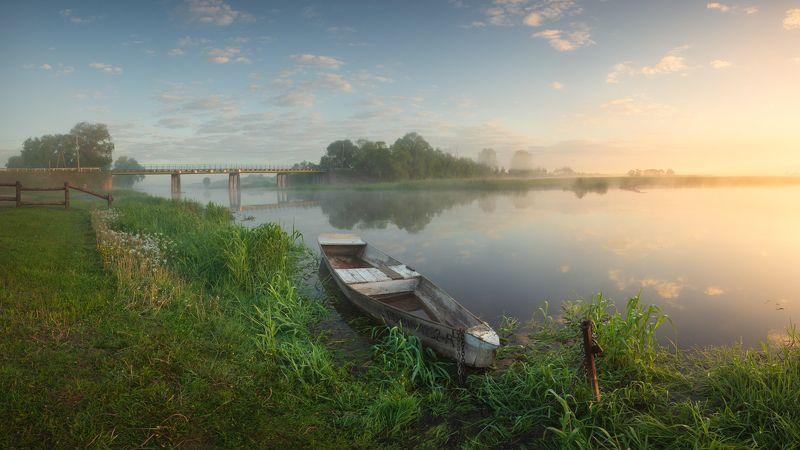 nature, landscape, colors, sunrise, river, biebrza, boat Foggy morning over Biebrza riverphoto preview