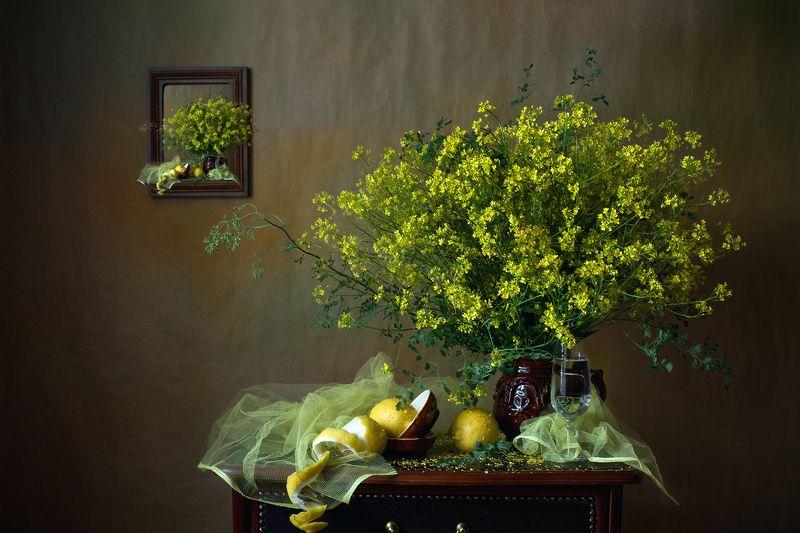 миламиронова, фотонатюрморт, букет, цветы, лимон, бокал, жёлтый Жёлтый букетик...photo preview