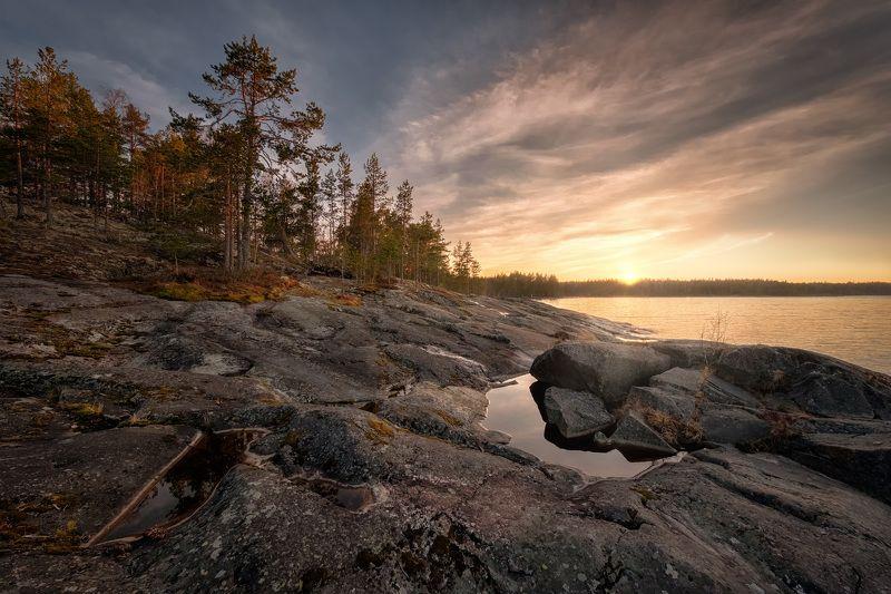 ладога, скалы, деревья, мох, лишайник, закат, облака, пейзаж, природа Закат за Скалистымphoto preview